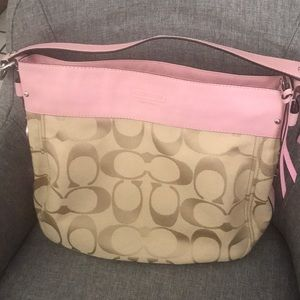 Like new coach beige hobo with pink leather trim